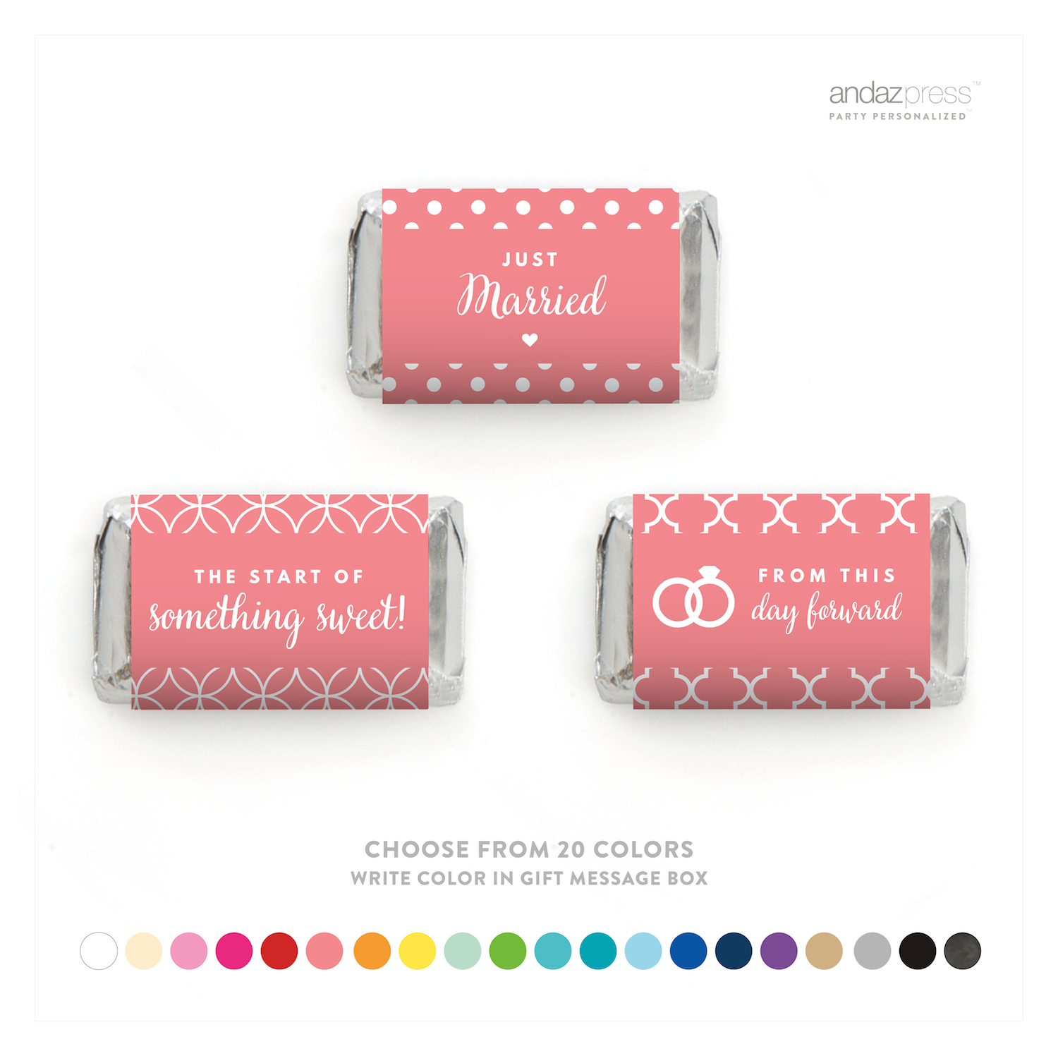 Andaz Press Chocolate Minis Labels Trio, Fits Hershey\'s Miniatures ...