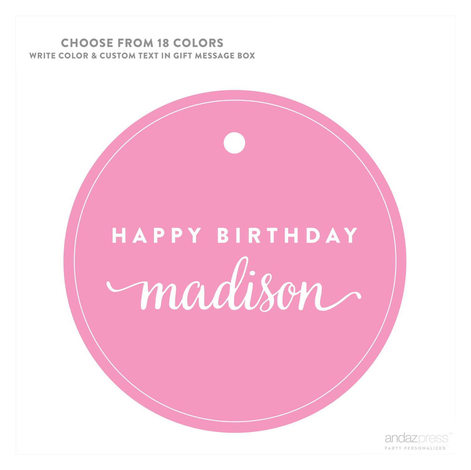 Name APC59770 Andaz Press Personalized Circle Gift Tags Birthday