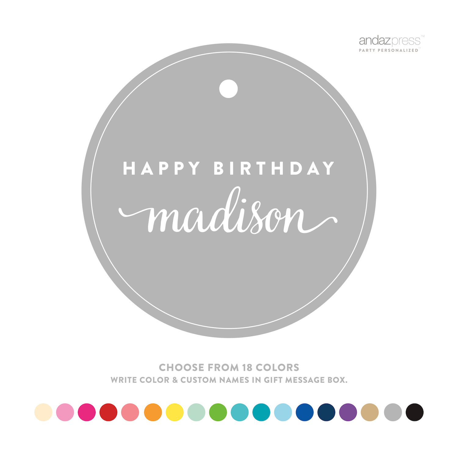 Andaz press personalized birthday gift tags custom made any name apc59770 andaz press personalized circle gift tags birthday happy birthday name negle Images