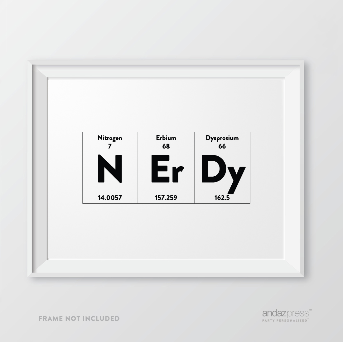 andaz press periodic table of elements wall art decor 85 x 11 inch 1 pack geeky scientific chemistry physics science print typographic calligraphy - 8 5 X 11 Periodic Table Of Elements