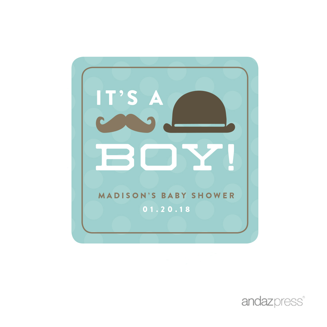 Andaz Press Vintage Lil Man Mustache Boy Baby Shower