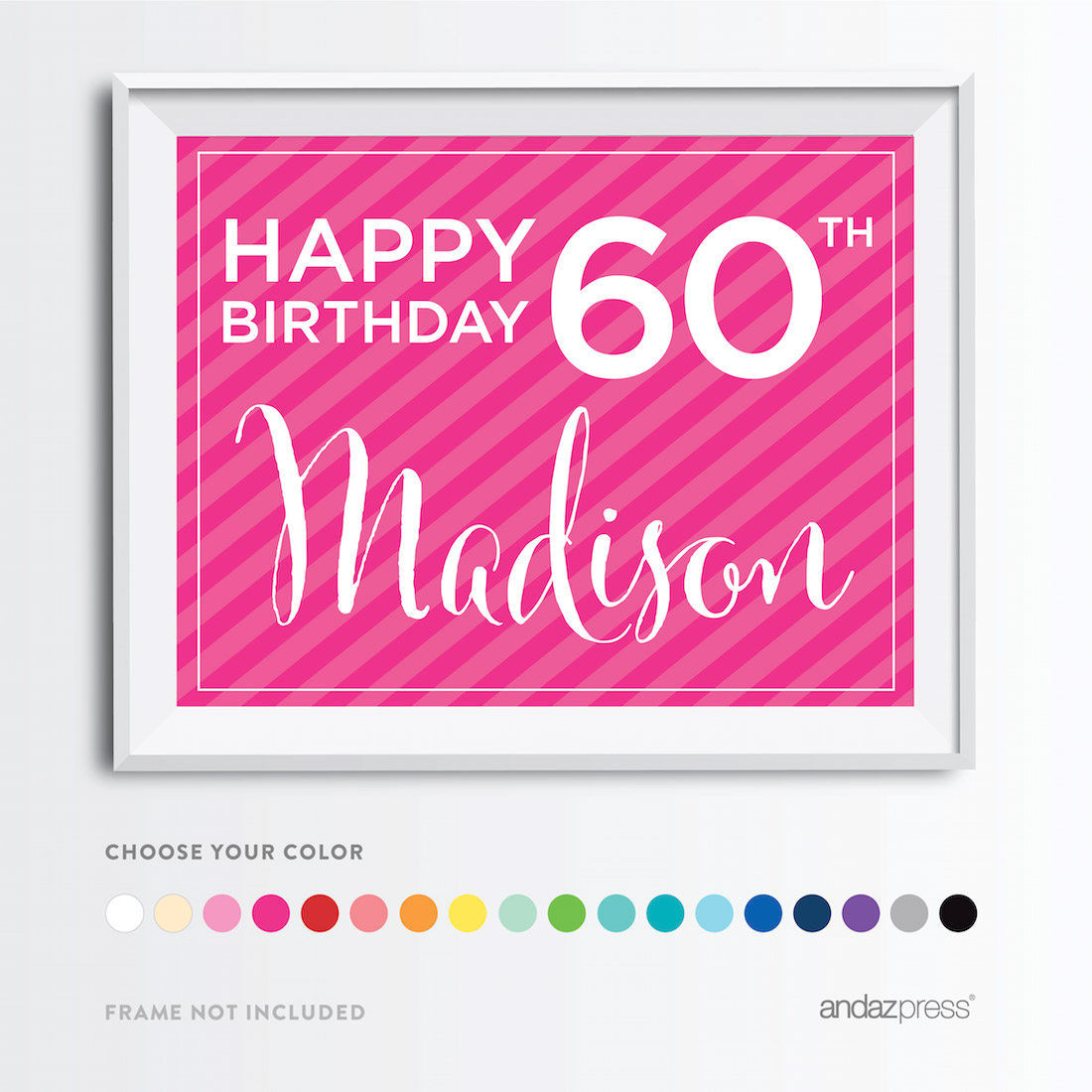 andaz press personalized milestone birthday wall art poster signs