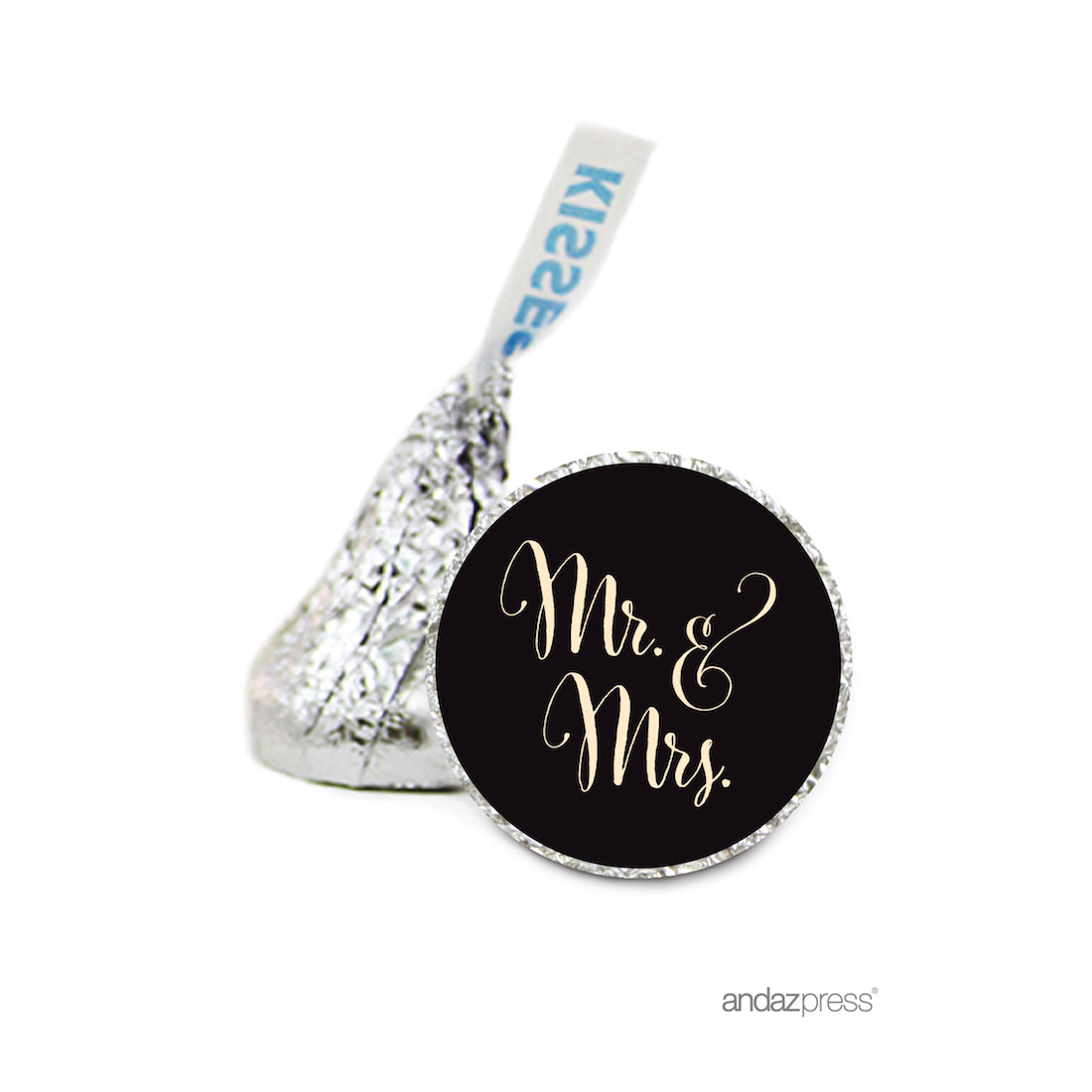 Andaz Press Chocolate Drop Labels Stickers, Wedding, Mr. & Mrs ...