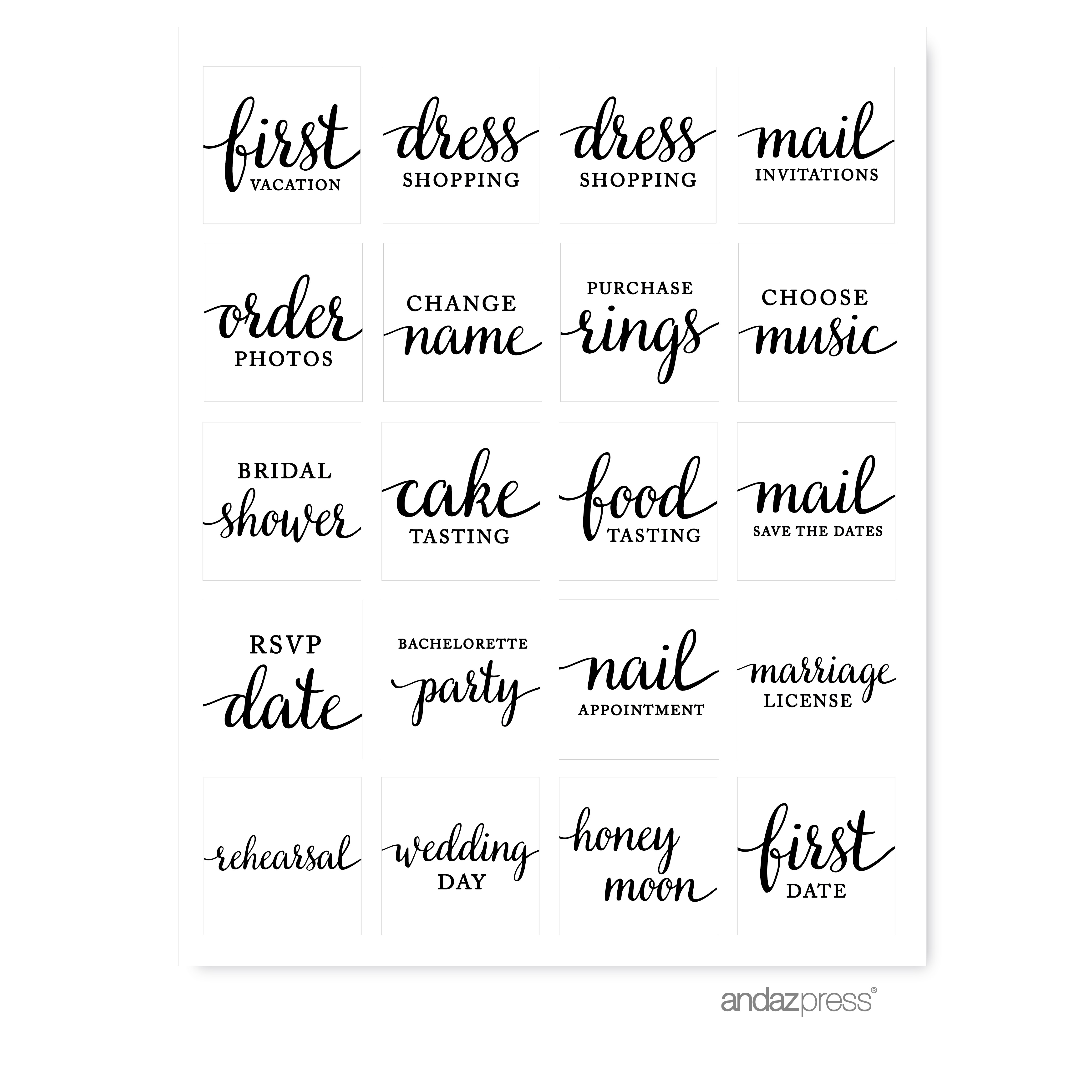 Andaz Press 1st Year Wedding Planner Labels Stickers Black And