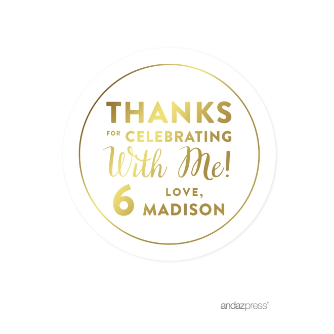 Andaz press personalized round circle birthday favor gift labels stickers metallic gold ink thanks for celebrating with me with age 40 pack