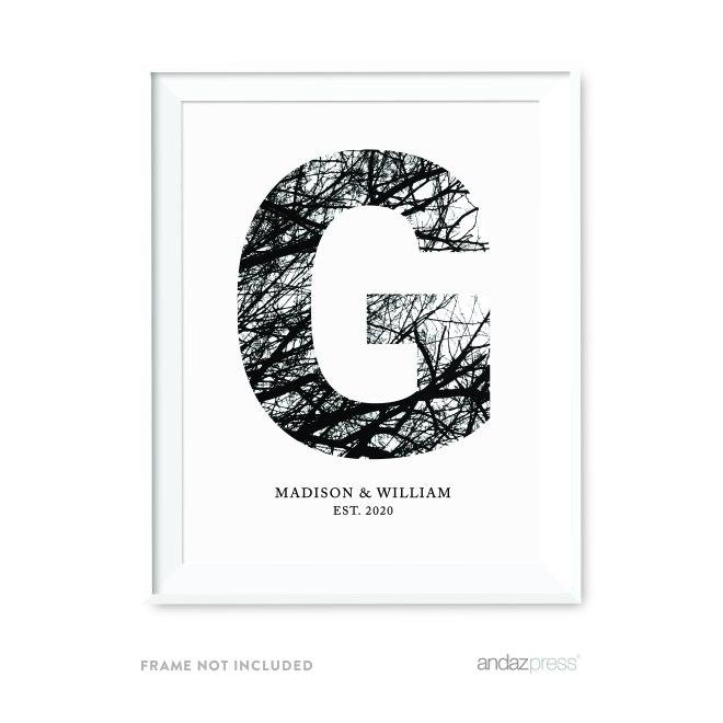 Andaz Press Monogram Wall Art Print Poster, Black and